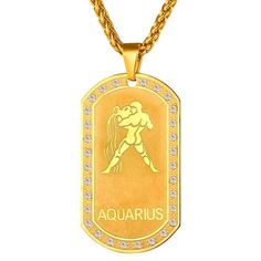 Gold Zodiac Dog Tag