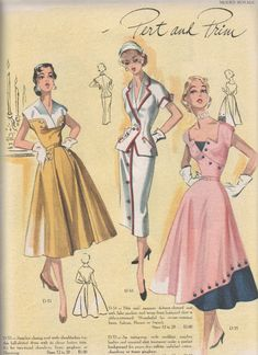 Vintage Clothing Building a Vintage Wardrobe - Browse free vintage patterns, retro hair tutorials and affordable vintage clothing. Enjoy diy fashion crafts and classic style inspiration Vintage Dress Patterns, Clothing Patterns, Vintage Dresses, Vintage Outfits, Vintage Clothing, 1950s Dresses, Skirt Patterns, Coat Patterns, Blouse Patterns