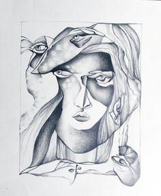 blind contour drawing in graphite by garaiacu on DeviantArt