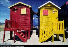 South Africa, Cape Peninsula, St. James Beach Huts, Colored Beach Houses.