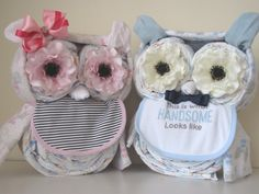 Twins Owl Diaper Cake/ Baby Shower Centerpiece/ Baby Gift by MyLittleDetailsShop on Etsy
