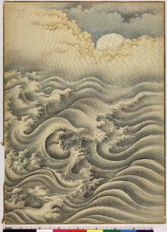 Waves, moon and clouds. Ink and colours and gold on silk. © The Trustees of the British Museum Japanese Waves, Japanese Prints, Wave Drawing, Japanese Illustration, Wave Art, Korean Art, China Art, Japan Art, Chinese Painting
