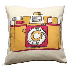 Image of Holga Camera Cushion - Pink or Blue Design Small Cushions, Yellow Cushions, Floral Cushions, Embroidered Cushions, Decorative Cushions, Cushions On Sofa, Contemporary Cushions, Modern Cushions, Camera Illustration