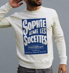 Sweat pour Homme Sophie Aime Les Sucettes de couleur Beige chiné