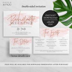 Printable Bachelorette Weekend Invitation  Editable PDF
