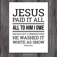 Jesus Paid it All. Christian Hymn. Printable by AmenPrintables, $6.50