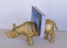 Dinosaur business card holder gold t rex desk accessory guy gift rino business card holder election 2016 gold rhino rhino lover guy reheart Gallery