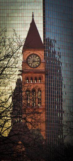 Clock tower in Toronto, Ontario, Canada.