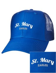 Saint Mary School Eagles Embroidered Cotton Twill Trucker-Style Mesh Back Cap