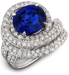 Colored stone engagement ring, sparkle and dazzle with this blue sapphire and diamond show stopper! Diana Vincent - Jewelry Designs #unique #original #bridal #modern #contemporary #handcrafted #MadeinAmerica #wedding