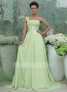 A-Line/Princess One-Shoulder Chapel Train Chiffon Holiday Dress With Ruffle Beading Appliques Lace Flower(s) (020025963) - JJsHouse