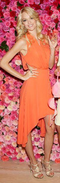 Who made Lindsay Ellingson's orange dress and platform nude sandals that she wore Dress – Rebecca Minkoff  Shoes – Giuseppe Zanotti