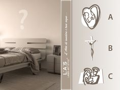 #ChoiceLAS Modern sacred pictures! Which would you like in this bedroom: Madonna and Child (A), Crucifix (B) o Holy Family (C)? http://www.laserartstyle.it/home/gallery/sacri/