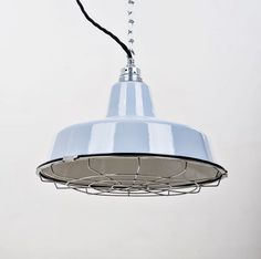 FACTORY II klein 31 cm Grau - lautentico Enamel Lamp Loft Gitterlampe mit Metallnetz