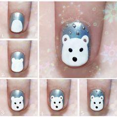 Easy polar bear nail art