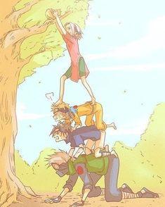 Naruto lol, team 7 working together.Sasuke, sakura, kakashi and naruto Naruto Team 7, Naruto Kakashi, Anime Naruto, Naruto Comic, Naruto Cute, Naruto Shippuden Sasuke, Anime Manga, Gaara, Image Hilarante