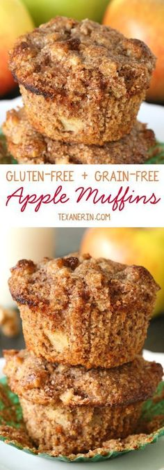 Delicious and moist apple muffins {grain-free, gluten-free, honey-sweetened} (Apple Recipes Sauce) Gluten Free Muffins, Gluten Free Sweets, Healthy Muffins, Gluten Free Cooking, Gluten Free Breads, Gluten Free Apple Cake, Grain Free Bread, Sugar Free Apple Muffins, Honey Muffins Recipe