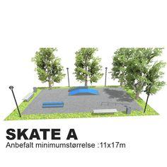 En mindre skatepark om man har liten tigjengelig plass. Dette oppsettet kan også være et godt utgangsunkt om man har større plass, men ikke økonomi. Når dette kommer på plass kan vi supplere med elementer som utfyller disse.  Anbefalt minimumstørrelse: 11x17m