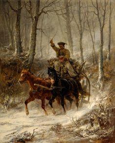 Adolf Schreyer (1828–1899) Wallach-Gespann im Winter 1862Öl auf Leinwand Maße 76 × 63 cm