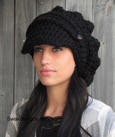 Black Slouchy Hat - Crochet Newsboy Hat Womens Hat Chunky Brim Hat Two Button Band Slouchy Cap - Black or CHOOSE Your Color