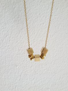 Cubic  Simple geometric vintage brass cube beads by ALittleDot