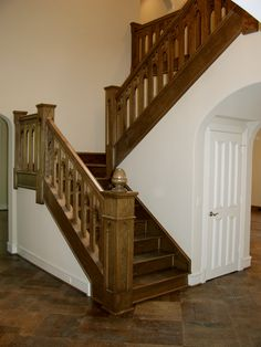 This staircase design was created using our custom ornamental wood stairs services. These unique components are made of solid wood, and can be stained or painted to create a desired look. We offer parts, install services, and custom components throughout Texas. Click the image for more information.