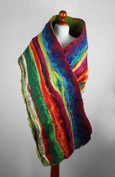 Nunofelt Scarf Felted Scarf Multicolor Wrap Felt Scarves wild Nuno felt Silk Silkyfelted Eco Rainbow fairy multicolor shawl Fiber Art