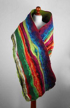Nunofelt Scarf Felted Scarf  Multicolor Wrap Felt Scarves wild Nuno felt Silk Silkyfelted Eco Rainbow fairy multicolor shawl Fiber Art