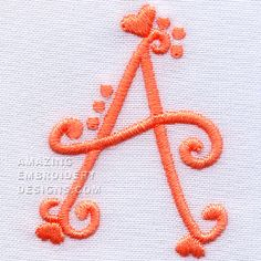 Amazing Embroidery Designs  letter A