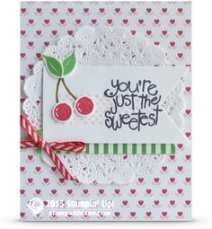 "You're the Sweetest Cherries from the Apple of My Eye | Stampin Up Demonstrator - Tami White . Stampin Up Supplies: Apple of my Eye & Timeless Textures stamp sets. Love Blossoms dsp. • Real Red Classic Stampin' Pad #126949 • Cucumber Crush Classic Stampin' Pad #138324 • Soft Suede Classic Stampin' Pad #126978 • Color Me Irresistible Specialty Designer Series Paper #138439 • Tea Lace Paper Doilies #129399 • Real Red & Garden Green 1/8"" Striped Ribbon#139615"