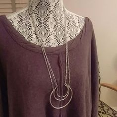 Antique silver Long layered half circle necklace New! Lucky Brand Jewelry Necklaces