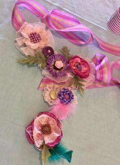 Boho maternity sash and corsages