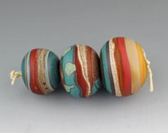 Strata Handmade Hollow Glass Bead Trio Aja Vaz SRA Etched Matte