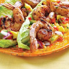 Such an easy meal. Serve Jerk-Spiced Shrimp with Tropical Salsa over steamed rice or wrapped in lettuce leaves. It's an easy app too - dip shrimp in the salsa!