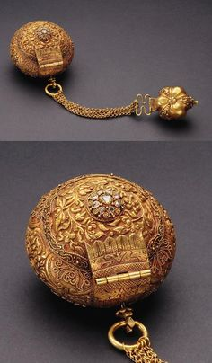 Indonesia ~ Sumatra, Riau, Dumai | Portable royal betelnut set (chelpa); 18k gold, diamond | 19th century | Set consists of a larger box to hold the nut of the pinang palm, and a smaller box for slaked lime. ||| Source; Ethnic Jewellery from Indonesia: Continuity and Evolution. Bruce W Carpenter. Pg 52