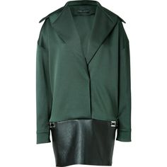 Anthony Vaccarello - Blazer-Style Dress with Leather Trim ($634) ❤ liked on Polyvore featuring dresses, jackets, cocktail & party, green, women, fitted cocktail dresses, leather cocktail dress, evening dresses, cocktail dresses and green long sleeve dress
