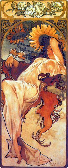 rappel de la fleur + couleurs +reprendre les courbes pour les agencements des tissus - Alphonse Mucha (Czech, 1860 - 1939). The Seasons: Summer, 1897. Color Lithograph, 73 x 32 cm.