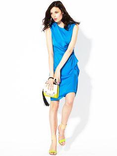 Alba Pleated Silk Logo Dress by Diane von Furstenberg on Gilt.com