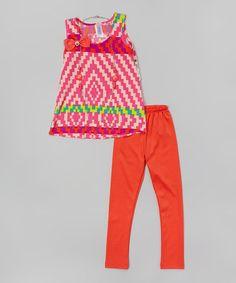 Look what I found on #zulily! Coral Geometric Tunic & Leggings - Girls by Maya Fashion #zulilyfinds