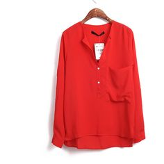 Single Pocket Long Sleeve Shirt Red$38.00 ($38) via Polyvore