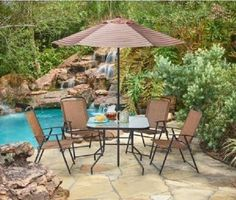 Patio Set With Umbrella Furniture Dining Outdoor Folding Chair Glass Table Steel #PatioSetWith