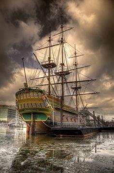A replica of the eighteenth century ship 'de Amsterdam'.