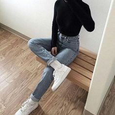 Nike Air Force Airforce Highwaist black minimal fashion inspo of the # . , Nike Air Force Airforce Highwaist black minimal fashion inspo of the # . Look Fashion, 90s Fashion, Fashion Outfits, Womens Fashion, Fashion Trends, Street Fashion, Korean Fashion, Overalls Fashion, American Fashion