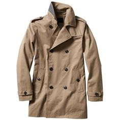 Banana Republic Men Factory Khaki Trench Coat ($140) ❤ liked on Polyvore featuring men's fashion, men's clothing, men's outerwear, men's coats, mens double breasted trench coat, mens trench coat, mens trenchcoat and mens khaki jacket outerwear