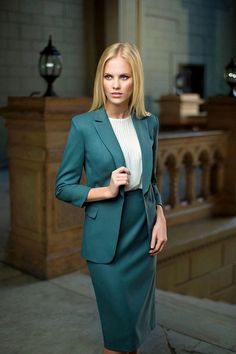 Green Skirt Suit with White Blouse