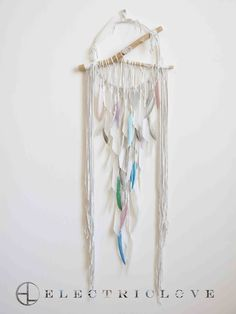Monarch Series with Opal - 14″ ring Atlantis in Snow Quartz White with Natural and Hand Painted Feathers, Hand Carved Branch & Quartz Crystal