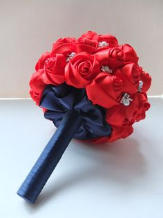 Hot Red Satin Rose accented with navy handles, pearls and rhinestone.  by LoveMimosaFleur