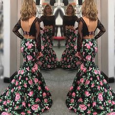Buy Stunning Two Piece Prom Pageant Party Dress - Black Mermaid Flower Floral Print with Long Sleeves under $158.99 only in Dressywomen.