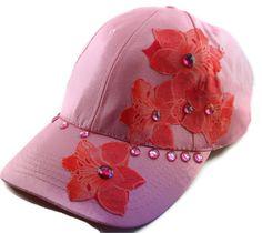 Women's Pink Baseball Cap with Peach Fabric Art by AbeesArtStudio, $15.00