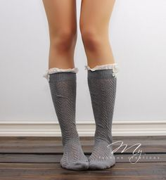 Womens Boot Socks Open knit Gray Boot socks by myfashioncreations, $24.00